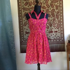 ! LF Pink Summer Dress with Collar !